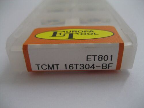 10 x TCMT16T304-BF ET801 TCMT SOLID CARBIDE TURNING INSERTS EUROPA TOOL  #S
