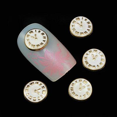 10pcs 3D Vintage Design Clock Nail Art Decoration Alloy DIY Crafts Accessories