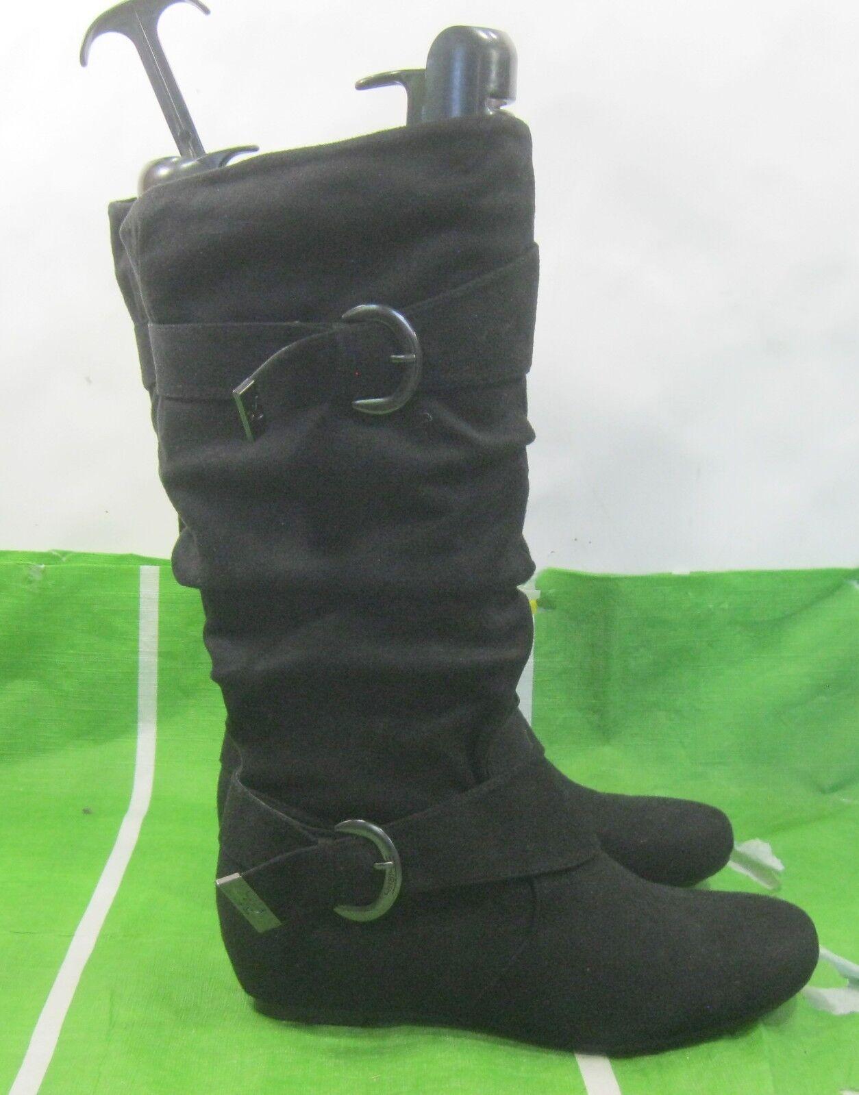 """new ladies Black 1.5""""Low Hidden Wedge Heel sexy Knee Boots Side Buckles Size 8.5"""