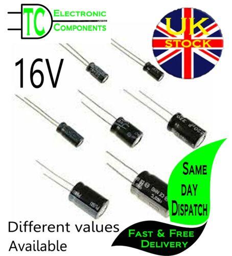 Condensadores electrolíticos radial Aluminio 16V (valores diferentes disponibles)