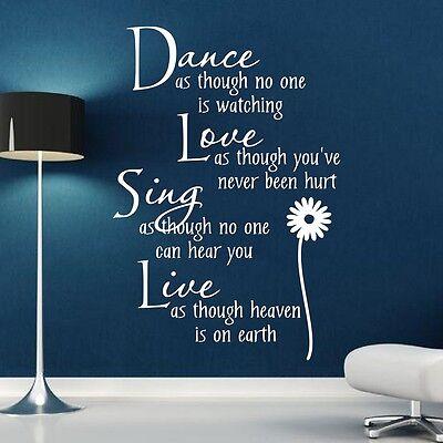 Dance Love Sing Live** - Wall Quote Sticker - Art Decor