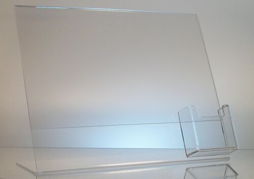 12 Clear acrylic 11 x 8.5 sign holder display w// vertical business card holder