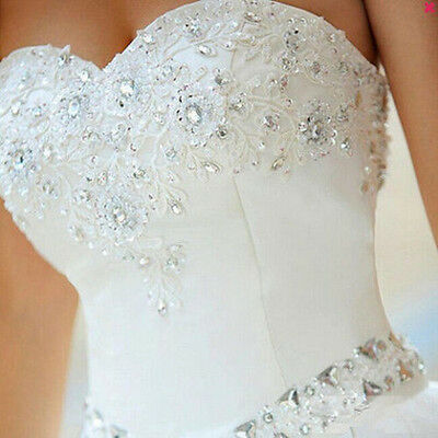 2018 NEW White Ivory Wedding Dress Bridal Gown Stock Size :6-8-10-12-14-16-18