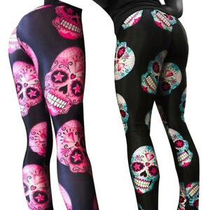 b1d45bedf34f8 Women Sexy Skull Print Floral Elastic Sports Yoga Workout Leggings ...
