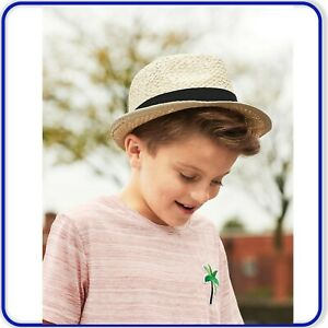 edc712324 Details about Kids Festival Trilby Boys Girls Beach Summer Hat Holiday  Straw Dance Hat
