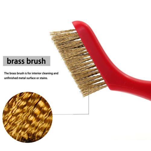 New 7pc Detail Wire Brush Set Steel Brass Nylon Cleaning Polishing Detail Metal