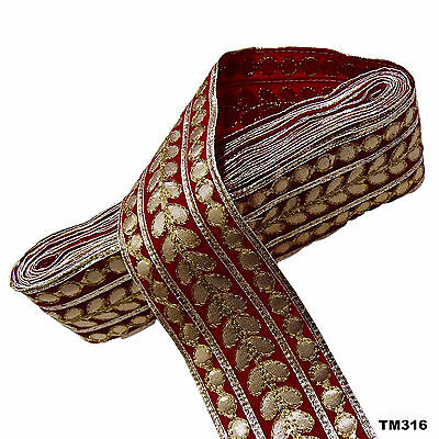 SAREE BORDER RED TRIM FASHIONABLE WOVEN LACE 1 YARD CRAFT FABRIC TRIM TM316