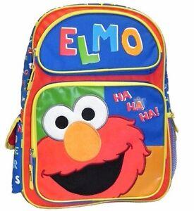 "New Style Sesame Street Elmo Boys 16/"" Kids Backpack and Large School Bag"
