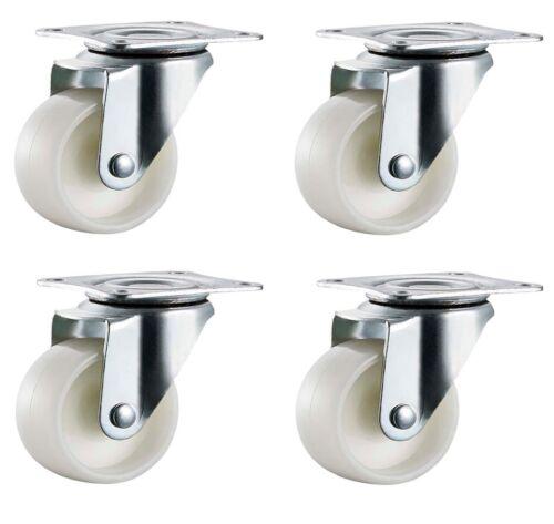 4x 50mm Nylon Ruote Rotelle-Girevole-non-marking RUOTE Furniture-MAX 100kg