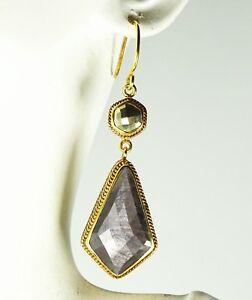ANNA-BECK-445-Sterling-Silver-14K-Gold-Hypersthene-amp-Pyrite-Dangle-Earrings