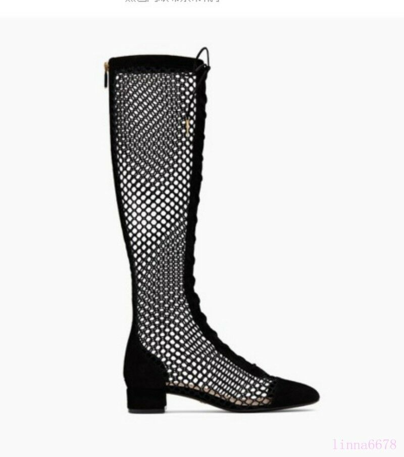 Summer Donna Knee Knee Knee High Mid Calf Stivali Mesh Hollow Out