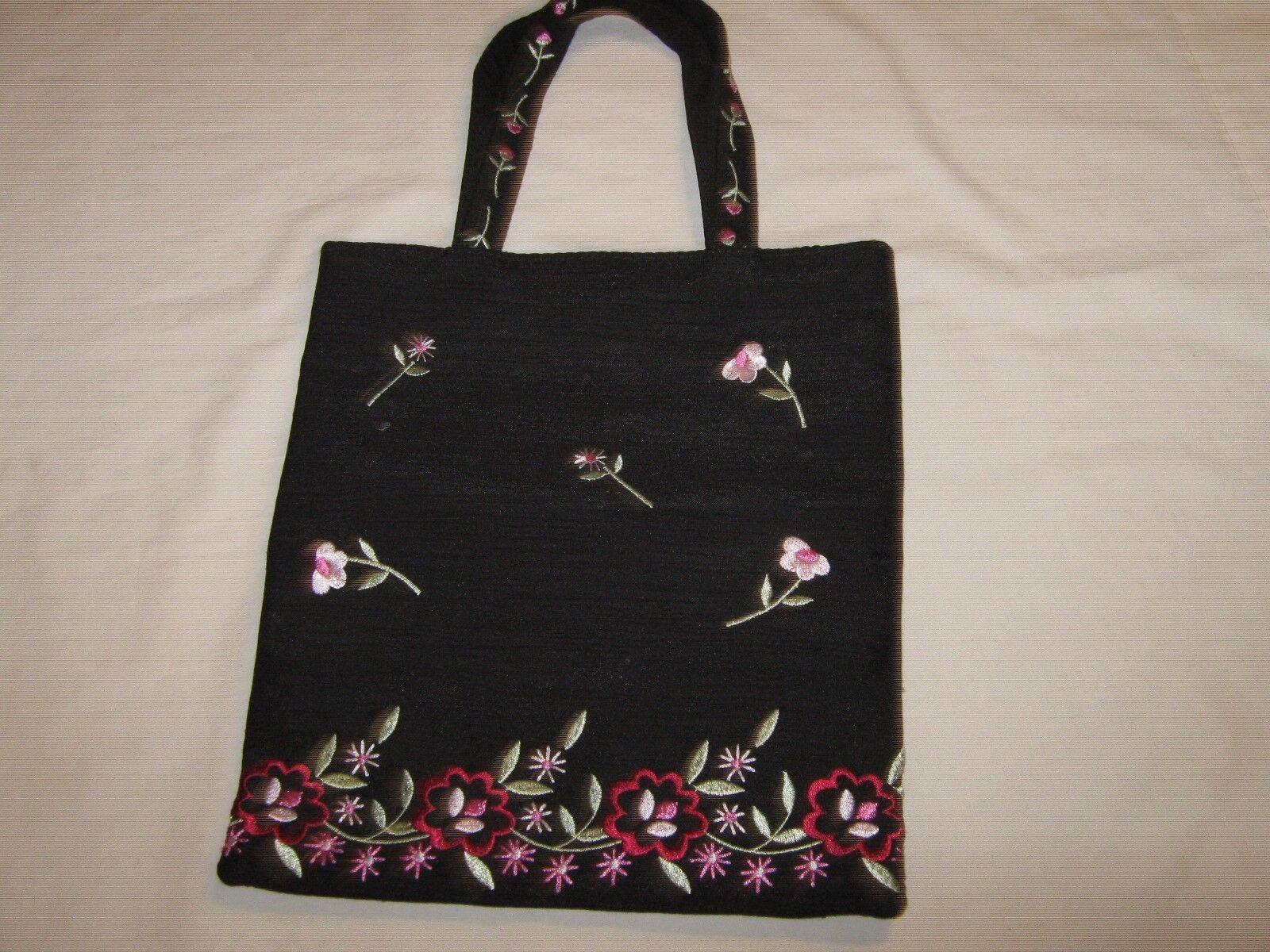 Purse, Liz Claiborne, Black With Floral Design,
