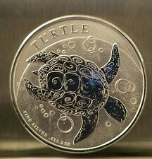 2015 2 oz New Zealand Silver $5 Niue HAWKSBILL TURTLE Coin nice thick coin