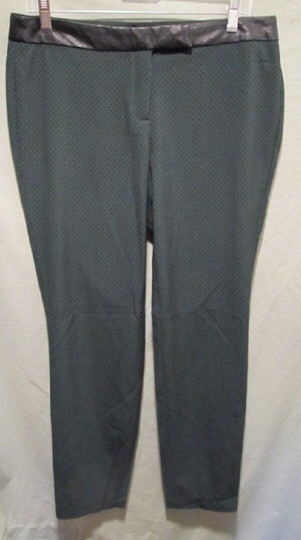 CYNTHIA ROWLEY GREEN POLKA DOT PANTS W LEATHER TRIM SZ 10 NWOTS