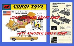 Corgi-Toys-262-Lincoln-Continental-Limusina-instrucciones-Folleto-amp-Poster-Cartel