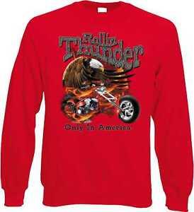 Sweatshirt-in-rot-mit-einem-Biker-Chopper-amp-Old-Schoolmotiv-Modell-Rolling