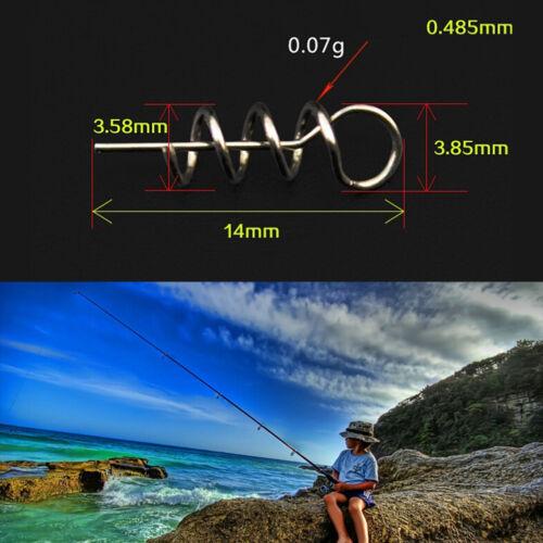 100pcs Soft Lure Baits Hook Pin Spring Fixed Lock Fishing Screw Needle Worm Hl