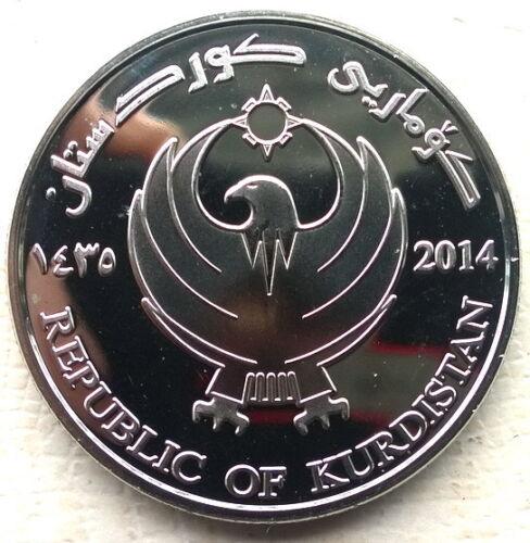 Kurdistan 2014 Map Colour 5000 Dinars Coin,Proof