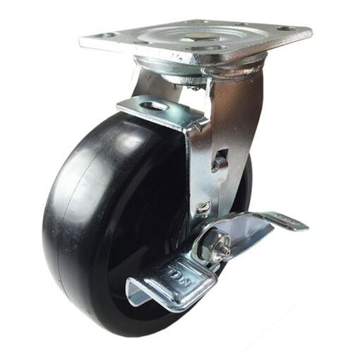 "6/"" x 2/"" Heavy Duty Plastic Caster Swivel with Brake"