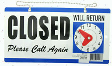 Open Closed Will Return Clock Sign With Hanger For Door Will Return Blue