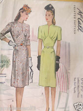 Vintage 40's McCALL'S 6050 DRESS  Day Evening Wedding Sewing pattern