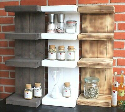 Gewürzregal Holz Gewürzhalter Küchenregal Wand Bad Stand Hänge