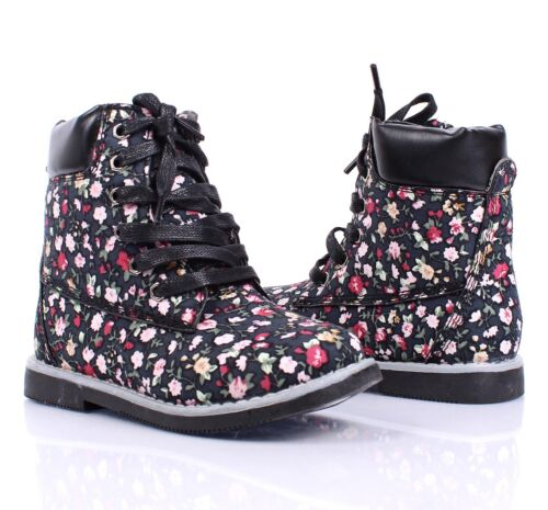5 Color Fashion Lace Up Preschool Girls Military Youth Size Kids Ankle Boots