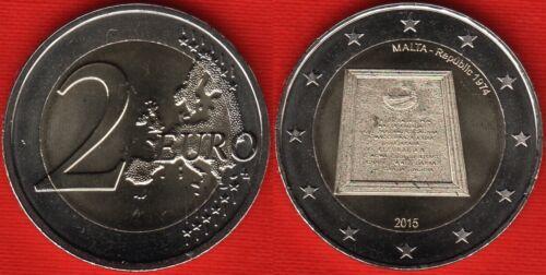 "Malta 2 euro 2015 /""Republic of Malta in 1974/"" BiMetallic UNC"