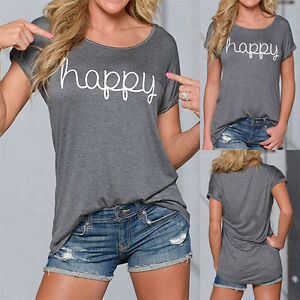 Summer-Womens-Letter-Print-Short-Sleeve-Casual-Loose-Ladies-T-Shirt-Tops-Blouse