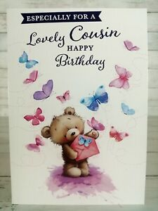 Especially For A Lovely Cousin, Happy Birthday Card, Cute Bear With Butterflies