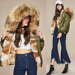 Women S Real Fur Lined Hooded Coat Fur Collar Bomber Jacket Winter
