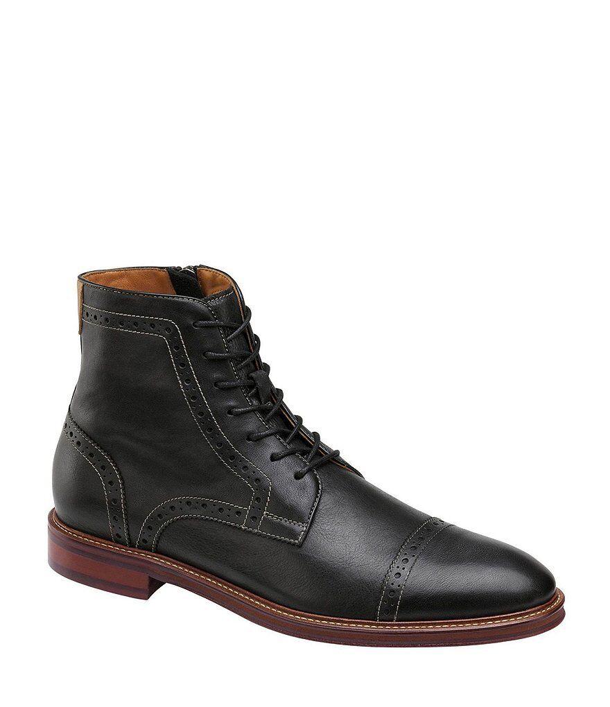Hombres BESPOKE HANDMADE 7 Ojales Pantorrilla Piel Cordones botas, botas al Tobillo Toe Caped