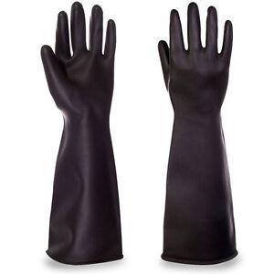 Pair-Elbow-Length-Marigold-Industrial-Heavyweight-Rubber-Latex-Gauntlet-Gloves