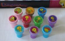 12 Looney Tunes Tweety Bird Self Ink Stamper Pencil Topper Gift Bag Filler Toy