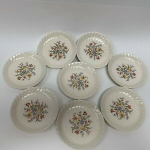 Vintage-Clifton-by-Royal-Saucers-Ivory-Floral-Swirl-Rim-Lot-of-8