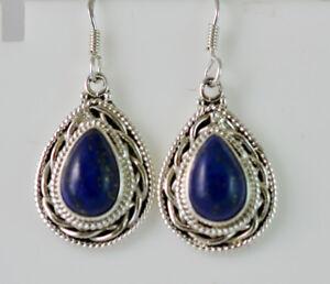 Lapis Lazuli Gemstone Solid 925 Sterling Silver Earrings Handmade Jewelry