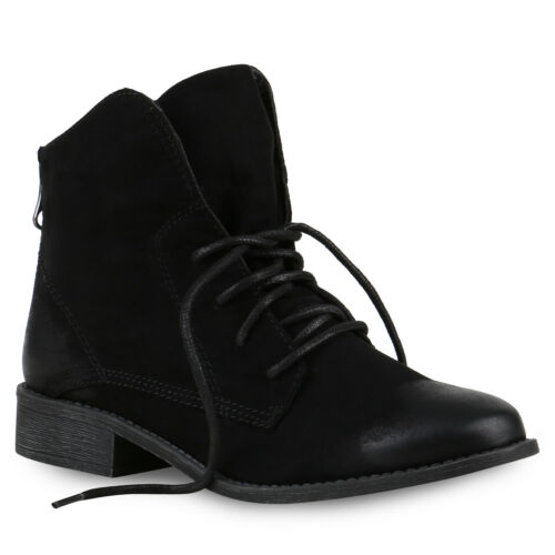 Damen Schnürstiefeletten Leder-Optik Stiefeletten Zipper 812584 Schuhe