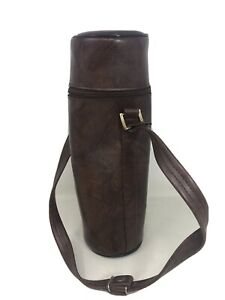 Faux  Leather Thermos Case W/ Strap Vintage Used Made In Taiwan