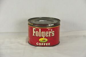 Vintage Folgers Coffee Tin Can