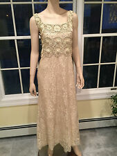 BADGLEY MISCHKA Sz 6 Champagne Gold Floral Tulle Sequined Full-Length DRESS GOWN