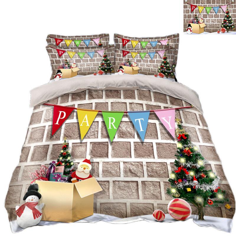 3D Natale Xmas Party 8 Federe Letto Trapunta Set Copripiumino Singolo Regina Regno Unito