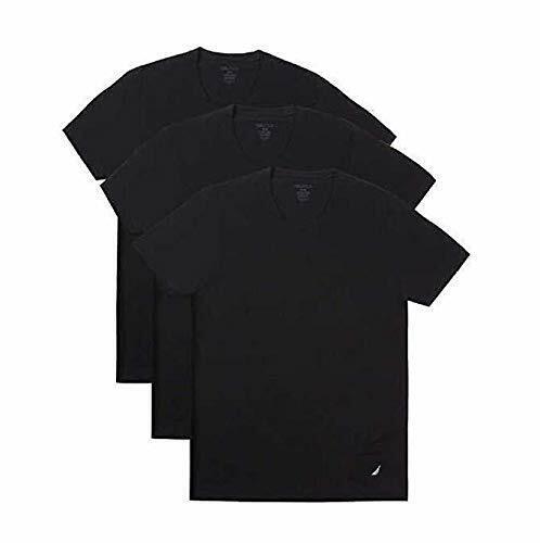 Black Nautica 3 Super Soft Cotton Stretch Classic Fit Crew Neck T-Shirts
