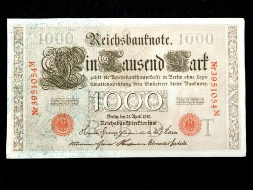 WWI Bill Authentic Historical 1910 Germany 1000 Mark Bank Note with RED SEAL