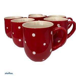 NEW Temp-Tations By Tara SET OF 8 Red White Polka Dot Coffee Mugs Stoneware