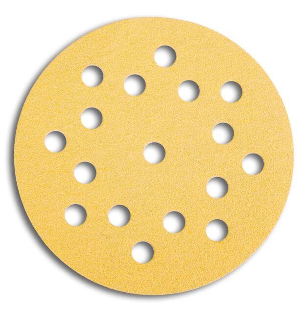 50 Mirka Gold Klettscheiben Schleifscheiben 125 mm 17 fach gelocht Korn 100