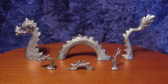 Pewter Mother and Baby Loch Ness Sea Dragons