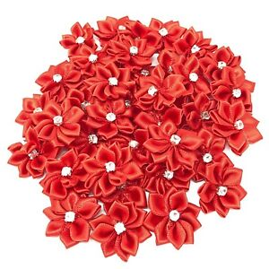 Red-Satin-Ribbon-Flowers-with-Rhinestone-Diamante-Centre-25mm-Craft-Flower