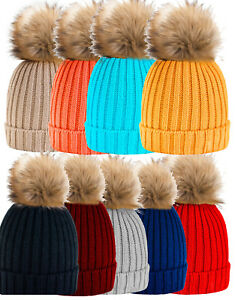 889b9dc14af Womens Kids Warm Winter Wool Knit Beanie Large Fur Pom Bobble Hat ...
