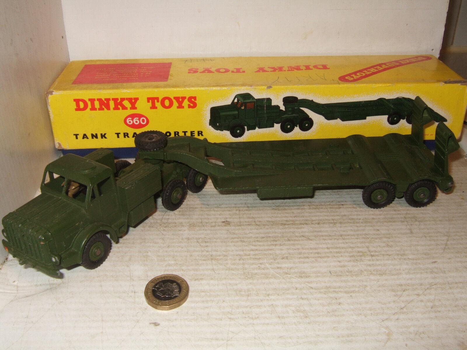 Vintage Dinky Supertoys 660 Thornycroft Antar Tank Transporter + original Box