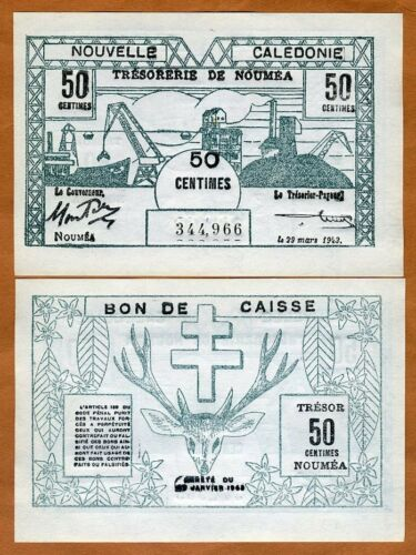 New Caledonia 50 Centimes P-54 Scarce in UNC 1943 WWII